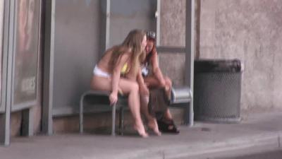 Blonde White Girl Public Peeing